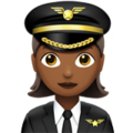 Woman Pilot: Medium-Dark Skin Tone on Apple iOS 11.2