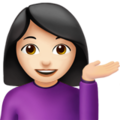 Person Tipping Hand: Light Skin Tone on Apple iOS 11.2