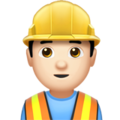 Man Construction Worker: Light Skin Tone on Apple iOS 11.2