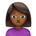 Woman Frowning: Medium-Dark Skin Tone on Apple iOS 11.2