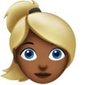 Blond-Haired Woman: Medium-Dark Skin Tone on Apple iOS 11.3