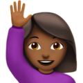 Person Raising Hand: Medium-Dark Skin Tone on Apple iOS 11.3
