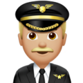 Man Pilot: Medium-Light Skin Tone on Apple iOS 11.3