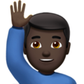 Man Raising Hand: Dark Skin Tone on Apple iOS 11.3