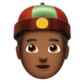 Man With Chinese Cap: Medium-Dark Skin Tone on Apple iOS 11.3