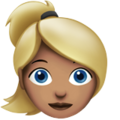 Blond-Haired Woman: Medium Skin Tone on Apple iOS 10.3