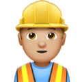 Man Construction Worker: Medium-Light Skin Tone on Apple iOS 10.3
