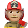 Man Firefighter: Medium-Light Skin Tone on Apple iOS 10.3