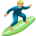 Man Surfing: Medium-Light Skin Tone on Apple iOS 10.3