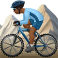 Person Mountain Biking: Medium-Dark Skin Tone on Apple iOS 10.3