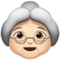 Old Woman: Light Skin Tone on Apple iOS 10.3