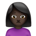 Person Frowning: Dark Skin Tone on Apple iOS 10.3