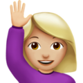 Woman Raising Hand: Medium-Light Skin Tone on Apple iOS 10.3