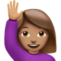 Woman Raising Hand: Medium Skin Tone on Apple iOS 10.3