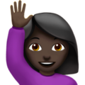 Woman Raising Hand: Dark Skin Tone on Apple iOS 10.3