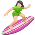 Woman Surfing: Light Skin Tone on Apple iOS 10.3
