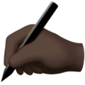 Writing Hand: Dark Skin Tone on Apple iOS 10.3