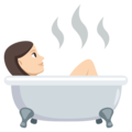 Person Taking Bath: Light Skin Tone on EmojiOne 3.1