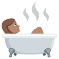 Person Taking Bath: Medium Skin Tone on EmojiOne 3.1