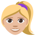 Blond-Haired Woman: Medium-Light Skin Tone on EmojiOne 3.1