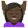 Person Getting Massage: Dark Skin Tone on EmojiOne 3.1