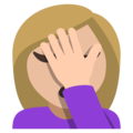 Person Facepalming: Medium-Light Skin Tone on EmojiOne 3.1