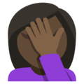 Person Facepalming: Dark Skin Tone on EmojiOne 3.1