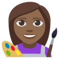 Woman Artist: Medium-Dark Skin Tone on EmojiOne 3.1