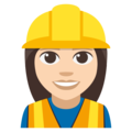 Woman Construction Worker: Light Skin Tone on EmojiOne 3.1