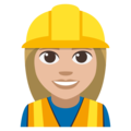 Woman Construction Worker: Medium-Light Skin Tone on EmojiOne 3.1
