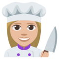 Woman Cook: Medium-Light Skin Tone on EmojiOne 3.1