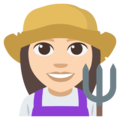 Woman Farmer: Light Skin Tone on EmojiOne 3.1