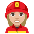 Woman Firefighter: Medium-Light Skin Tone on EmojiOne 3.1