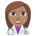 Woman Health Worker: Medium Skin Tone on EmojiOne 3.1