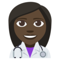 Woman Health Worker: Dark Skin Tone on EmojiOne 3.1