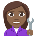 Woman Mechanic: Medium-Dark Skin Tone on EmojiOne 3.1