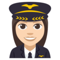 Woman Pilot: Light Skin Tone on EmojiOne 3.1