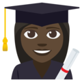 Woman Student: Dark Skin Tone on EmojiOne 3.1