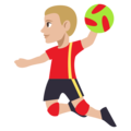 Person Playing Handball: Medium-Light Skin Tone on EmojiOne 3.1