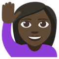 Person Raising Hand: Dark Skin Tone on EmojiOne 3.1