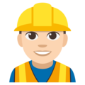 Man Construction Worker: Light Skin Tone on EmojiOne 3.1