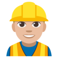 Man Construction Worker: Medium-Light Skin Tone on EmojiOne 3.1