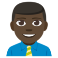 Man Office Worker: Dark Skin Tone on EmojiOne 3.1