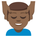 Man Getting Massage: Medium-Dark Skin Tone on EmojiOne 3.1