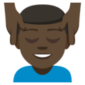 Man Getting Massage: Dark Skin Tone on EmojiOne 3.1