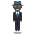 Man in Business Suit Levitating: Dark Skin Tone on EmojiOne 3.1