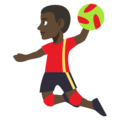 Man Playing Handball: Dark Skin Tone on EmojiOne 3.1