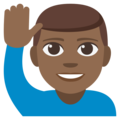Man Raising Hand: Medium-Dark Skin Tone on EmojiOne 3.1