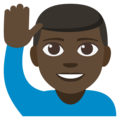Man Raising Hand: Dark Skin Tone on EmojiOne 3.1