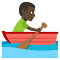 Man Rowing Boat: Dark Skin Tone on EmojiOne 3.1